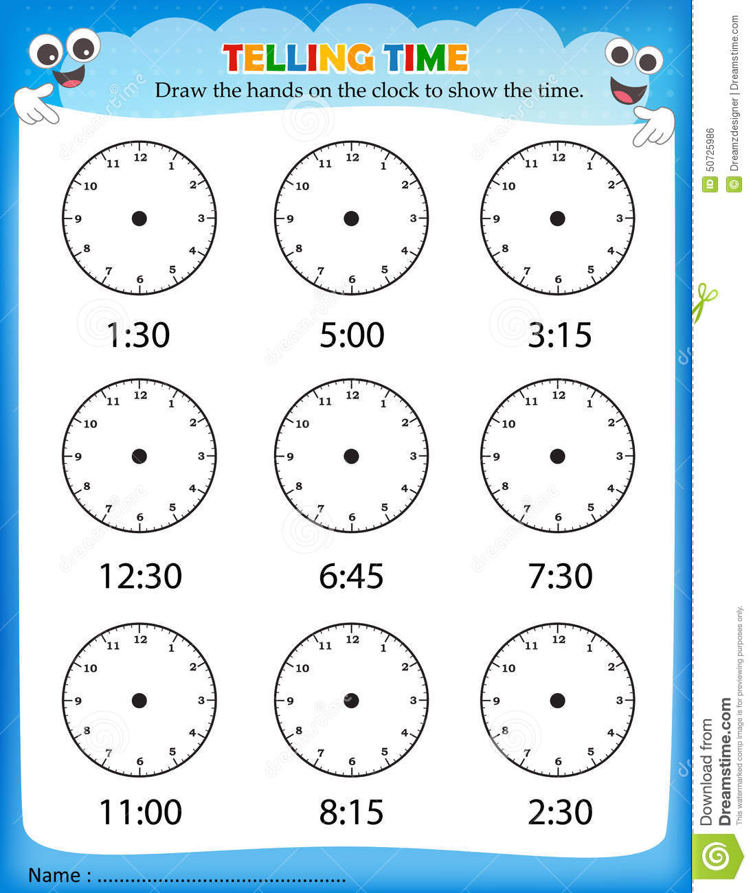 Telling Time Worksheet Stock Vector