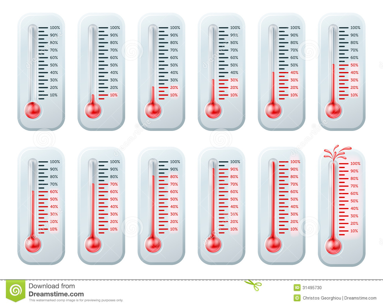Temperatuur Het Toenemen Thermometers Vector Illustratie
