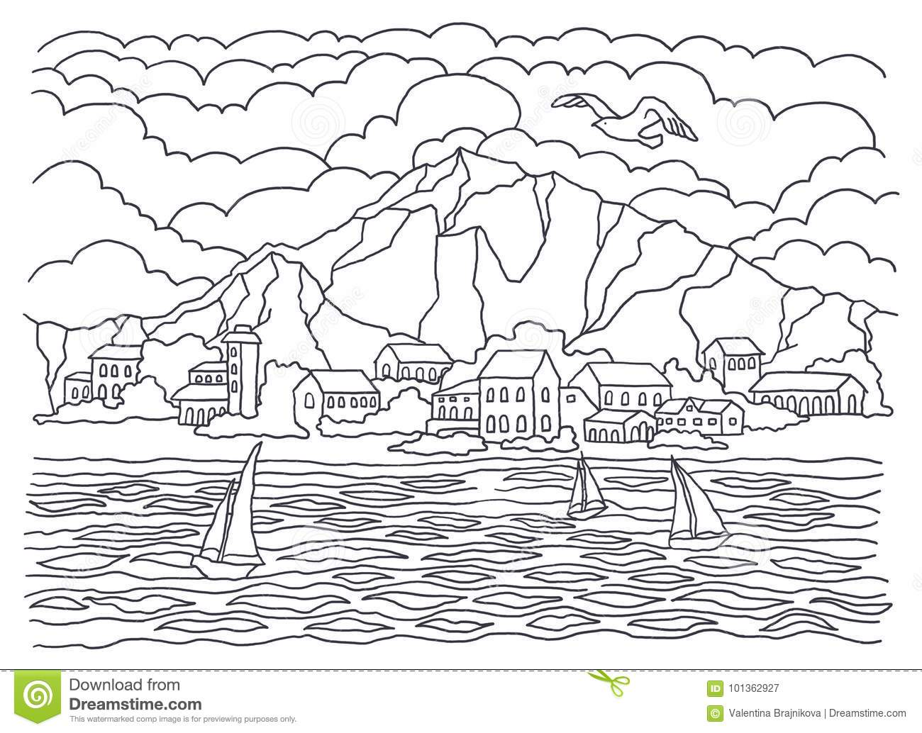 Template For Coloring Sea Coloring Landscape Painting Sea Waves Tranquility Sailboats