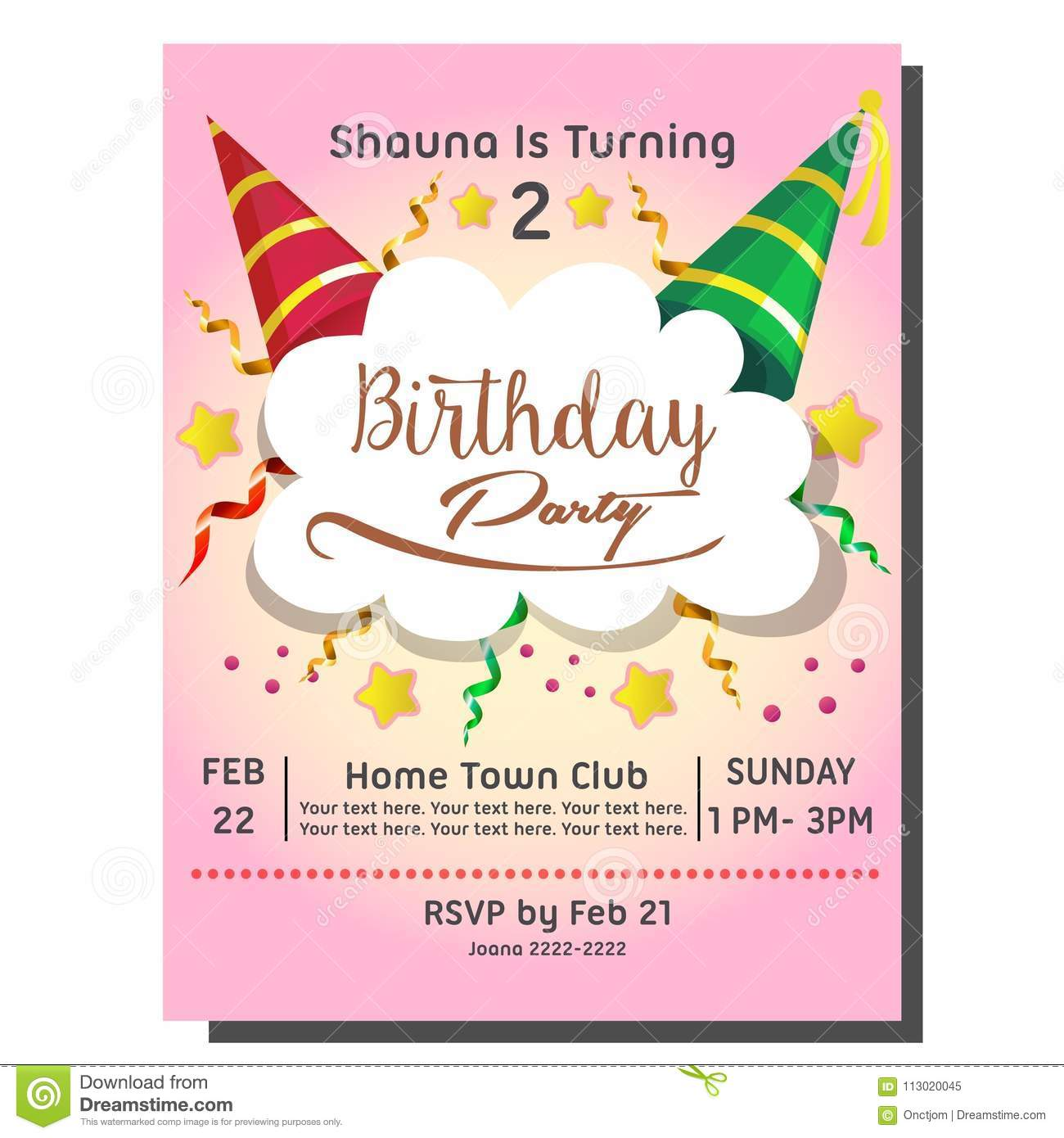 https www dreamstime com template nd birthday party invitation card hat nd birthday party invitation card hat image113020045
