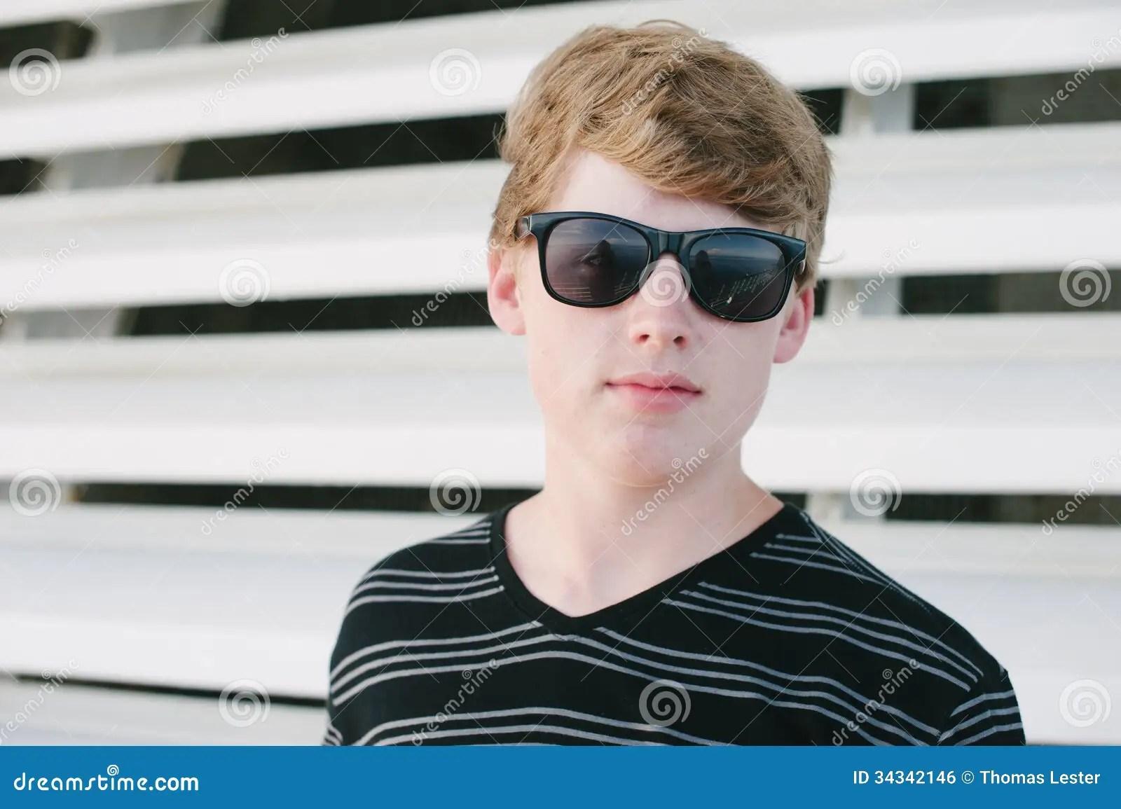 Tenn Boy In Striped Shirt And Sunglasses Royalty Free