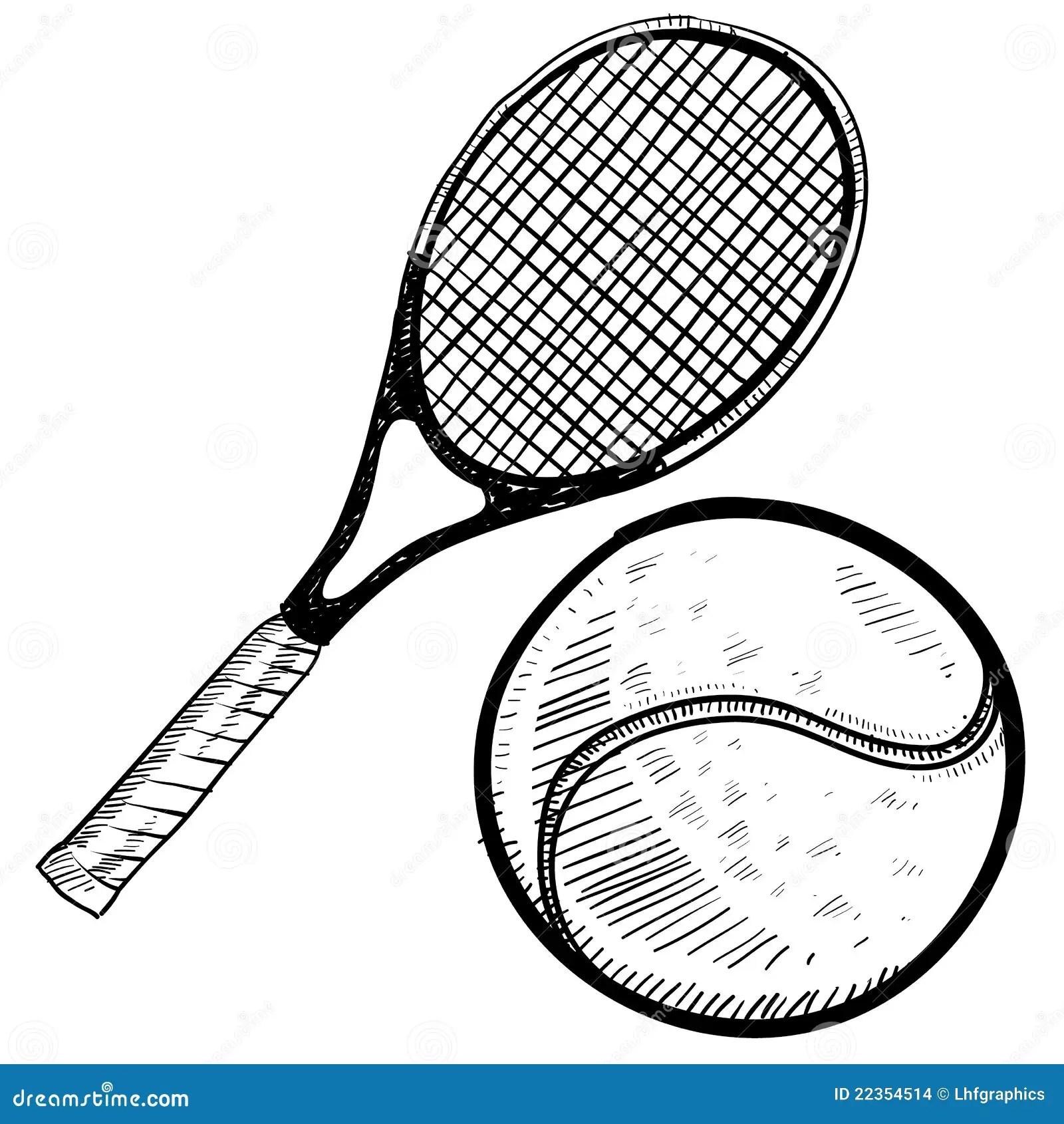 Tennis Ball And Racquet Sketch Stock Vector