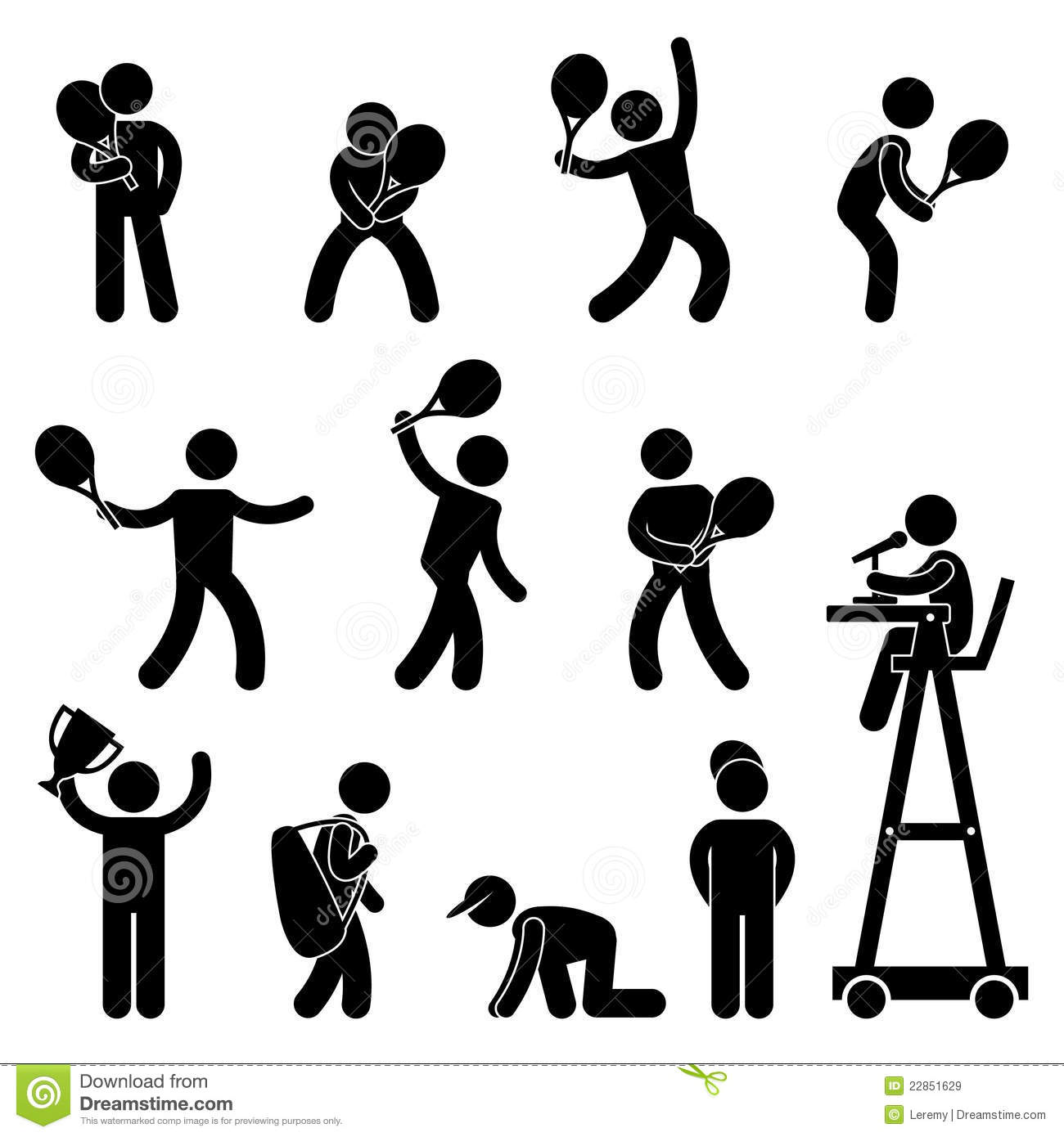 Tennis Player Umpire Pictogram Icon Pictogram Royalty Free