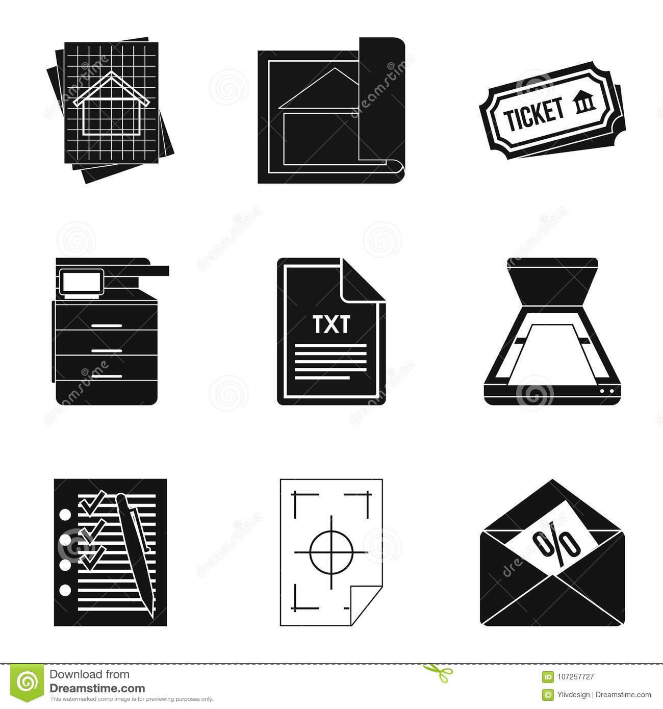 Text File Icons Set Simple Style Stock Vector