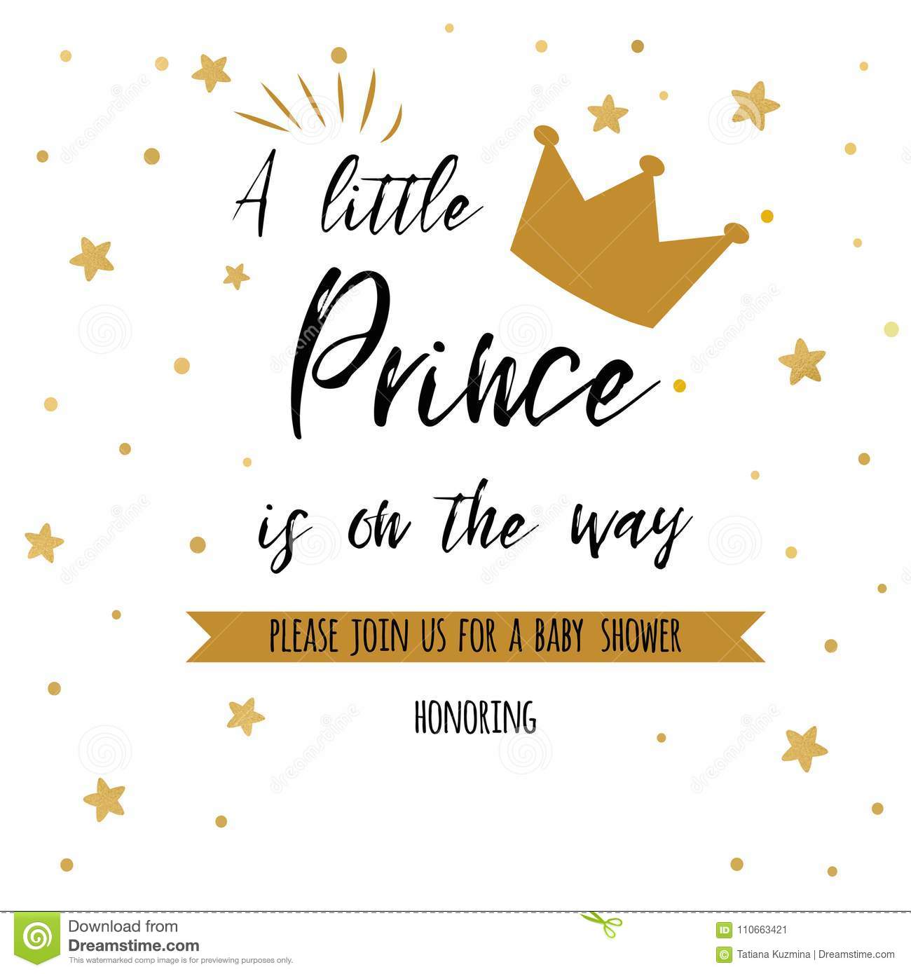 https www dreamstime com text little prince way gold stars golden crown boy birthday invitation baby shower template text little prince image110663421