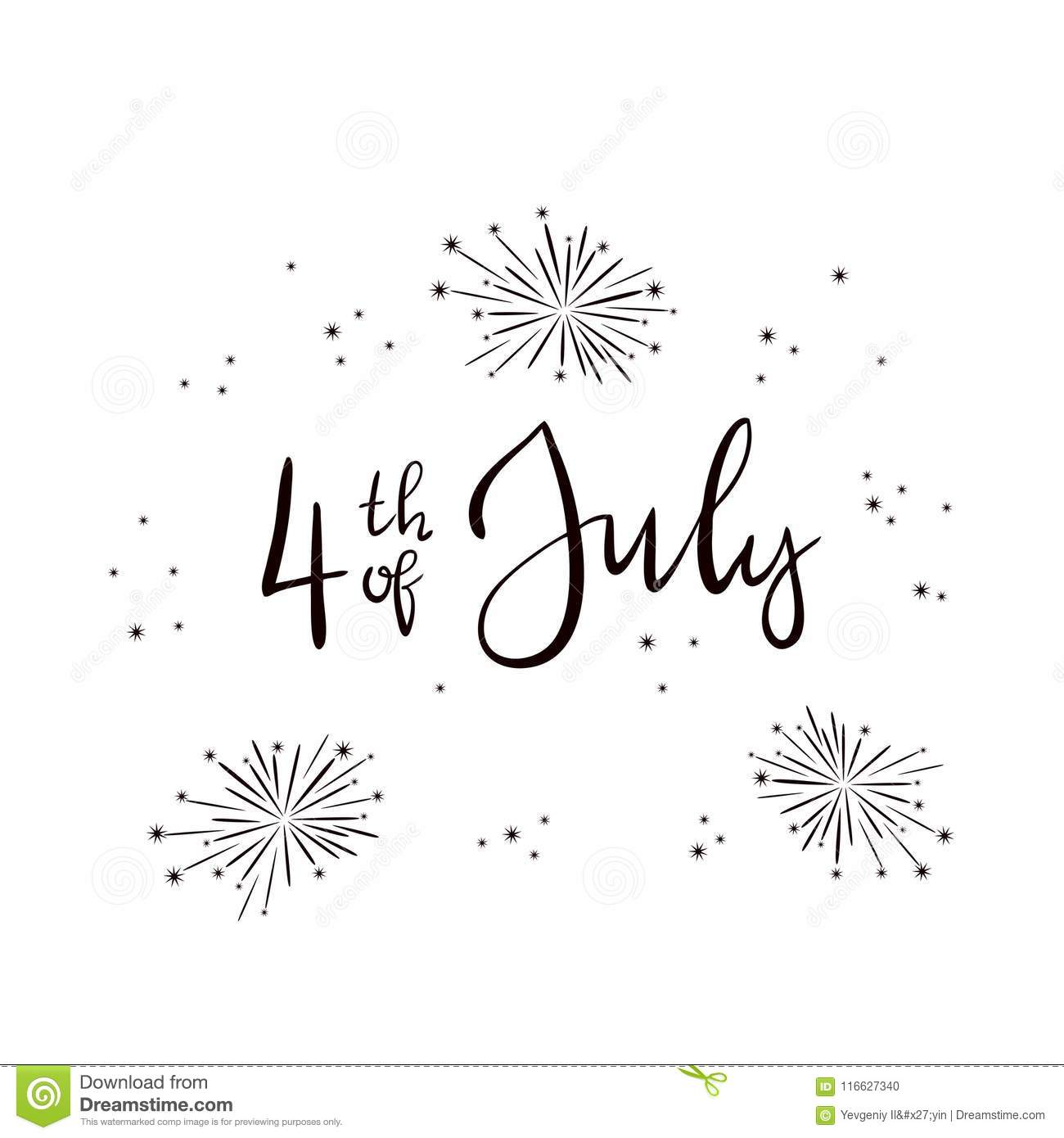 Text 4th Of July And Fireworks On White Background Stock