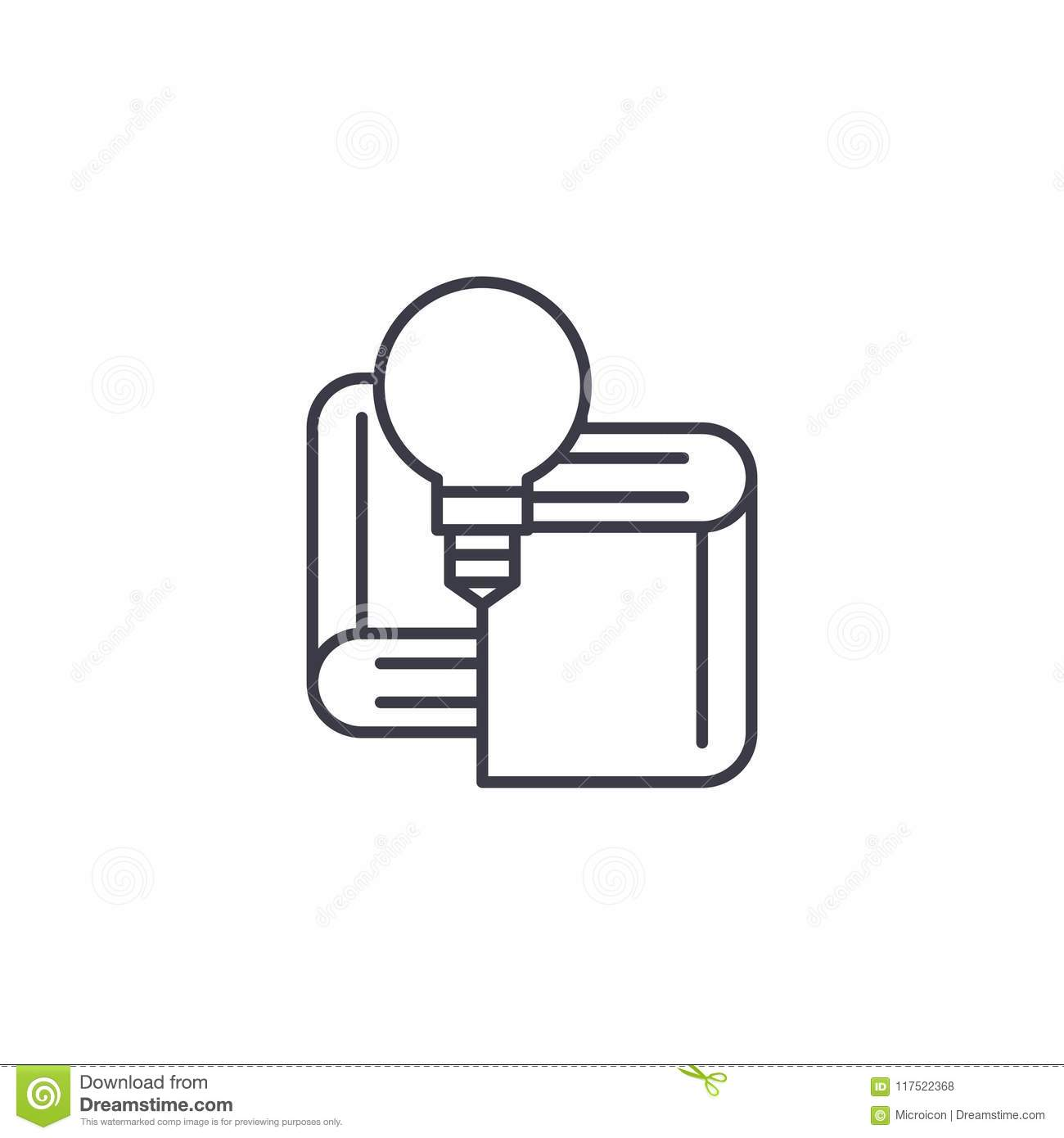 Textbooks Linear Icon Concept Textbooks Line Vector Sign
