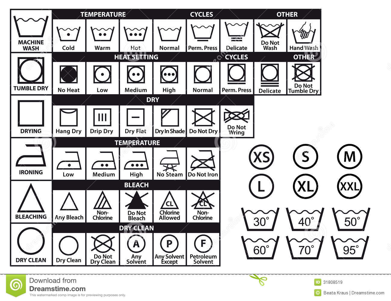 Textile Care Symbols Vector Set Royalty Free Stock Images