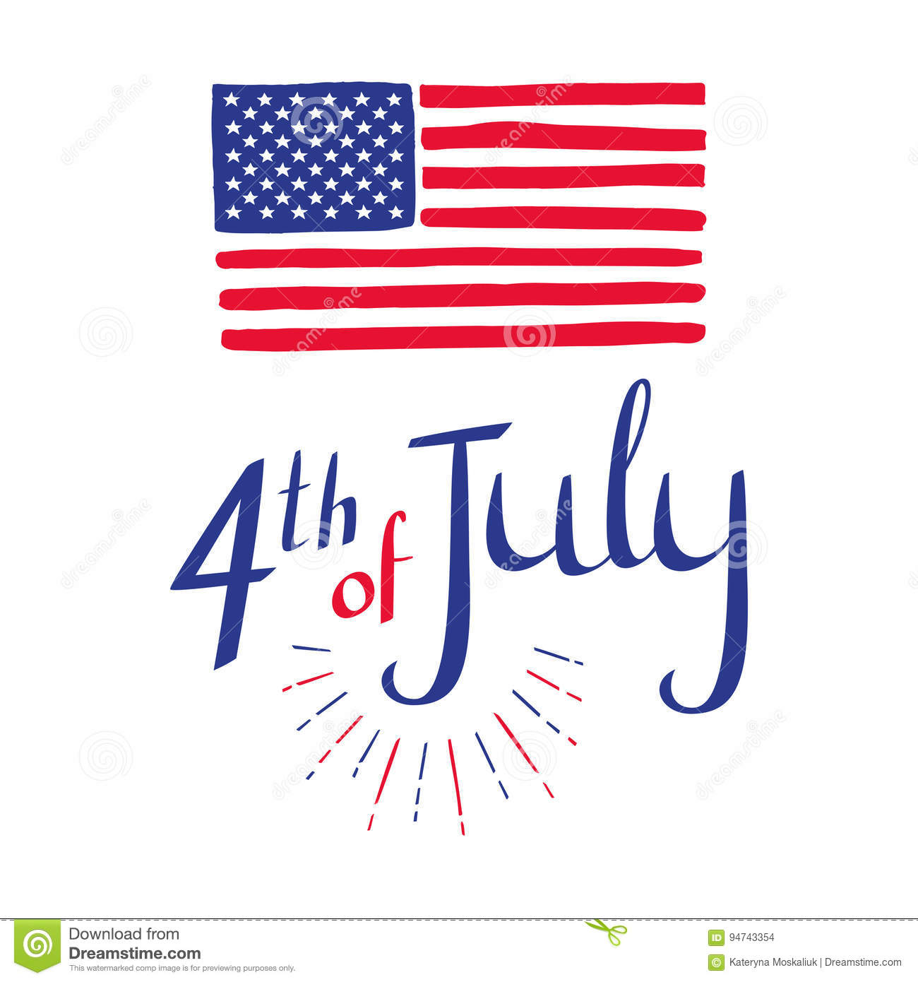 4th Of July Hand Drawn Independence Day Card With