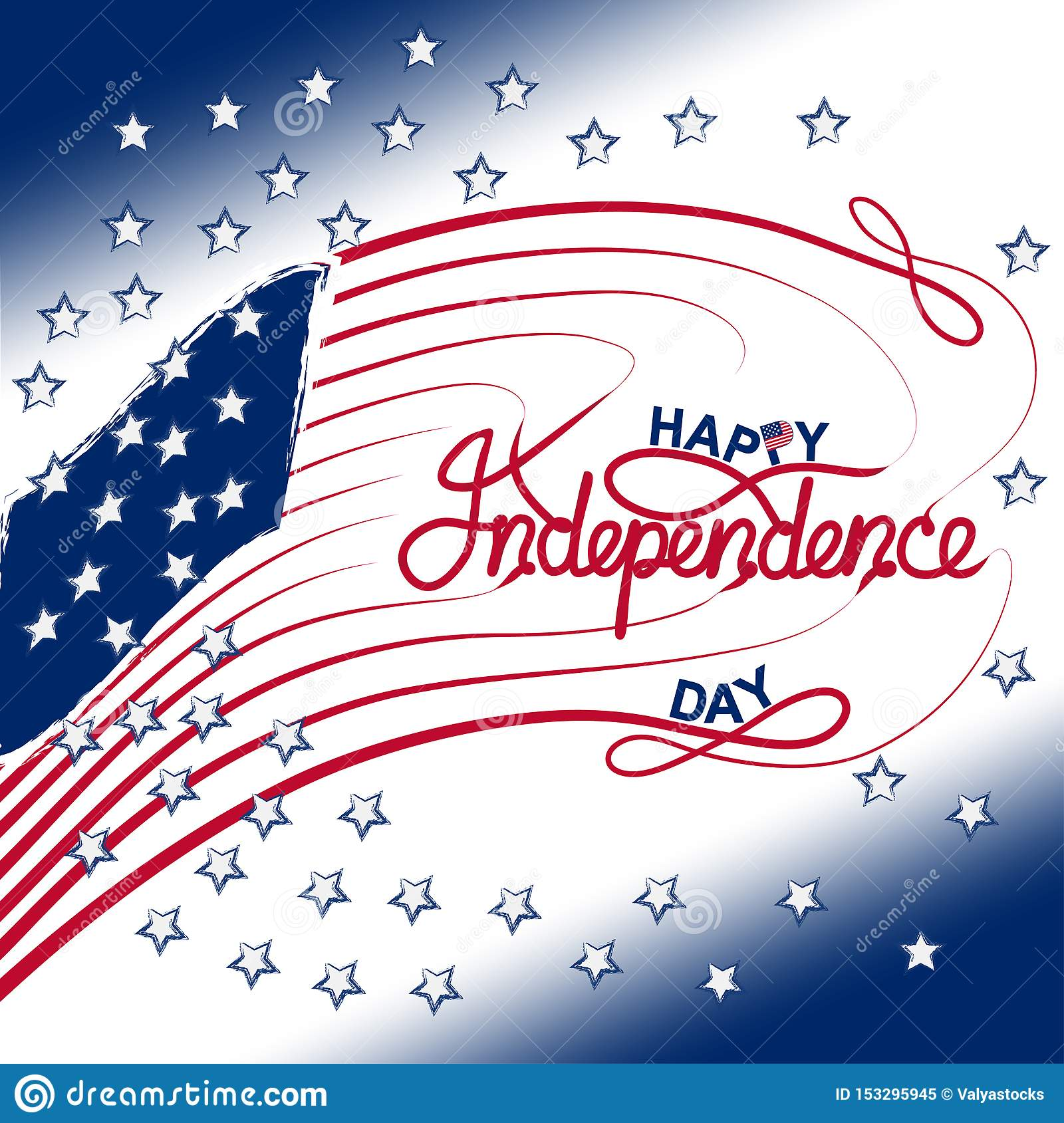 4th Of July With Usa Flag Independence Day Banner Vector