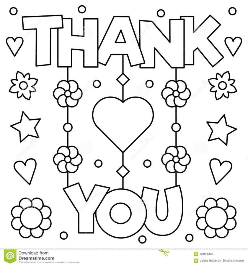 thank you. coloring page. vector illustration. stock