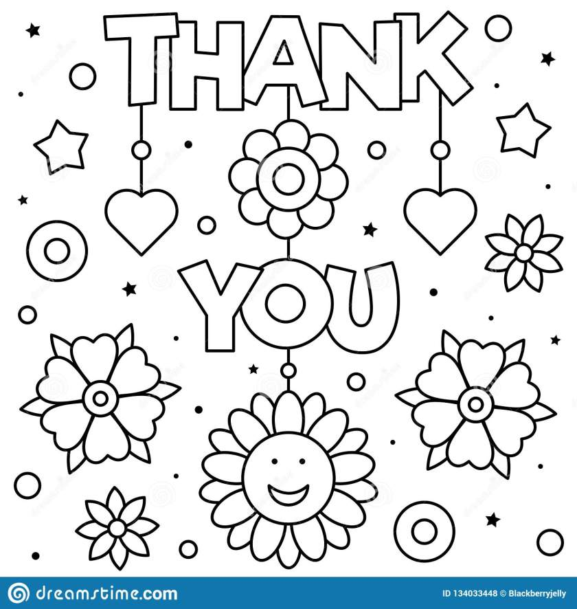 thank you. coloring page. black and white vector