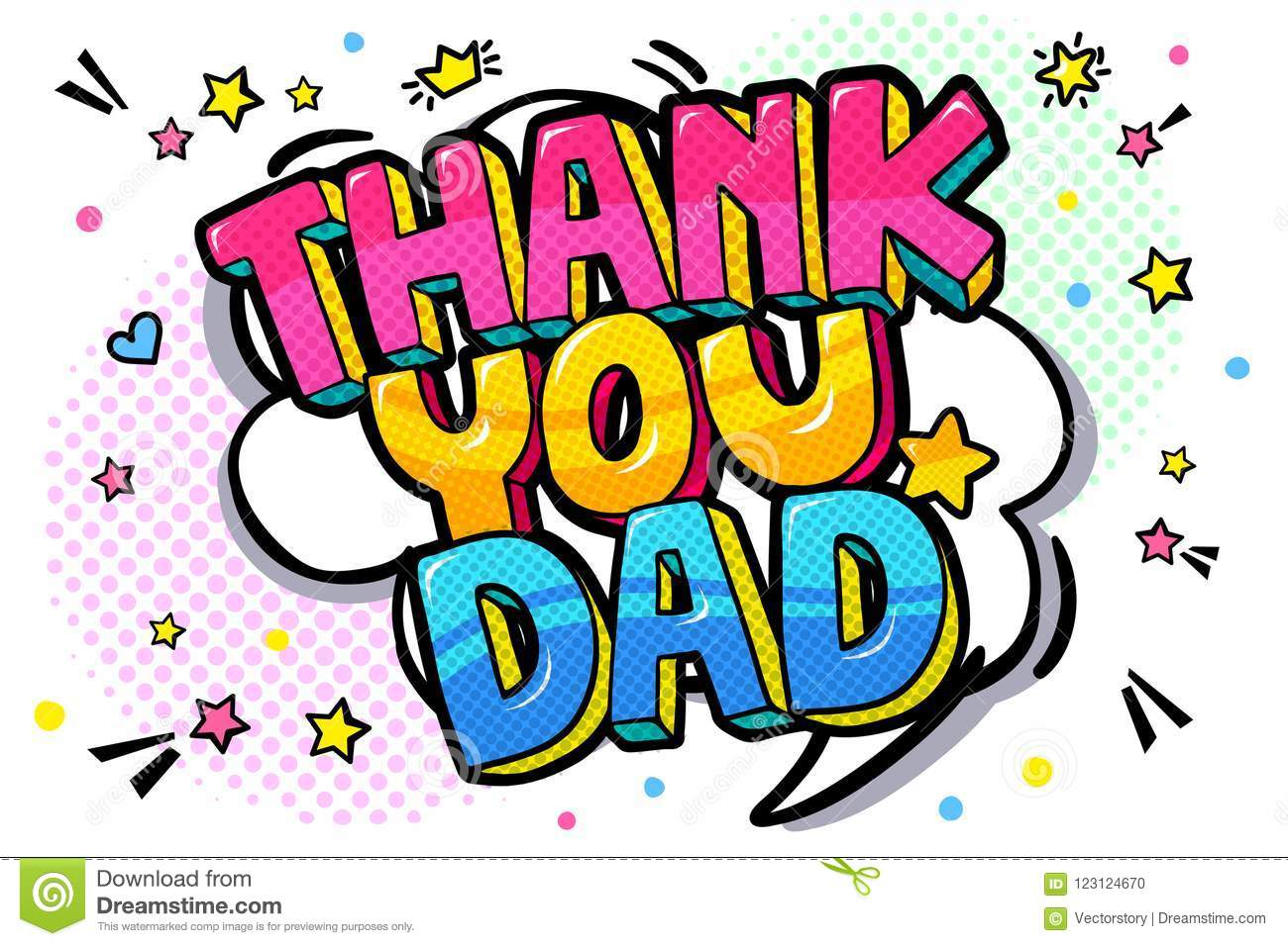 Thank You Dad Message In Sound Speech Bubble Stock Vector