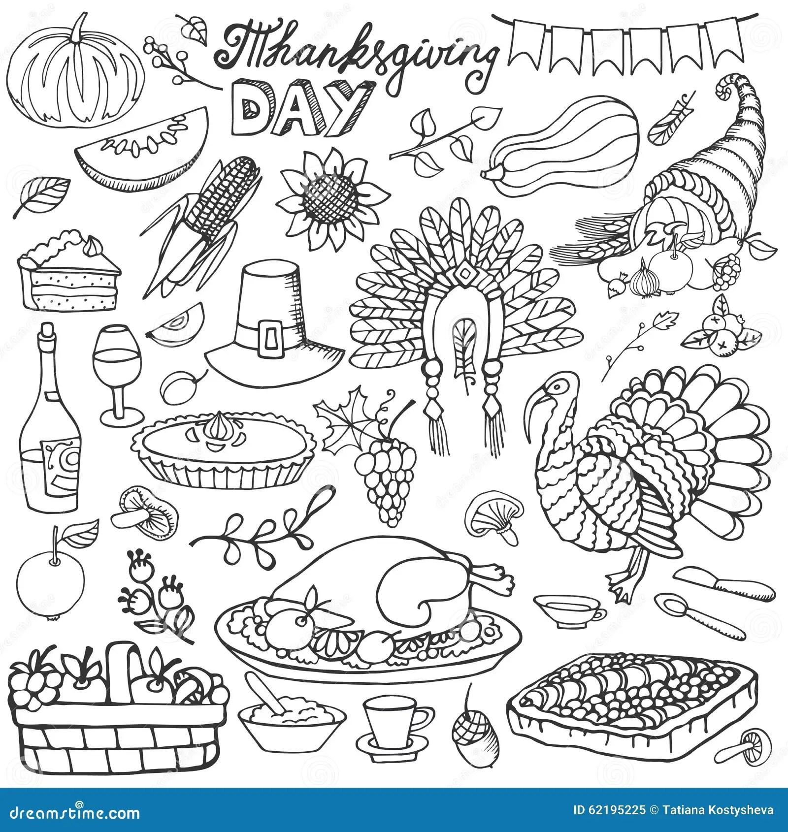 Thanksgiving Day Doodle Iconsnear Set Stock Vector