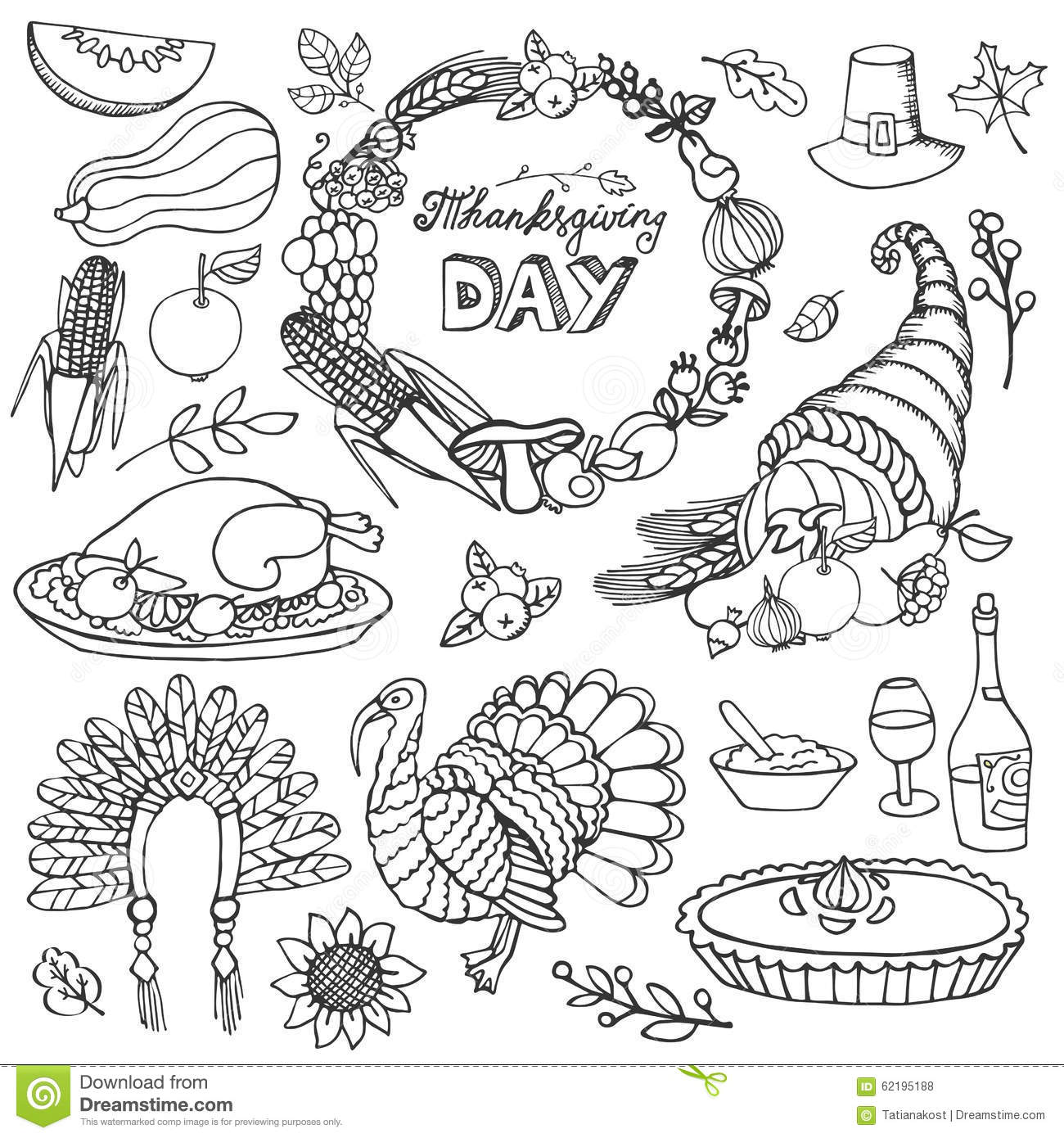 Thanksgiving Day Doodle Icons Wreathnear Set Stock