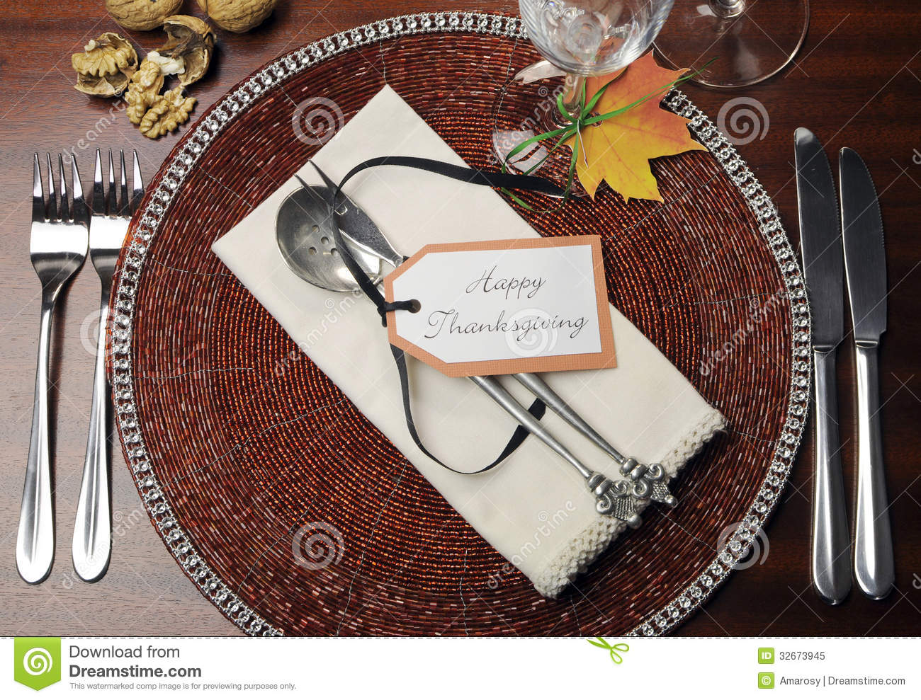Thanksgiving Dinner Table Place Setting Aerial View