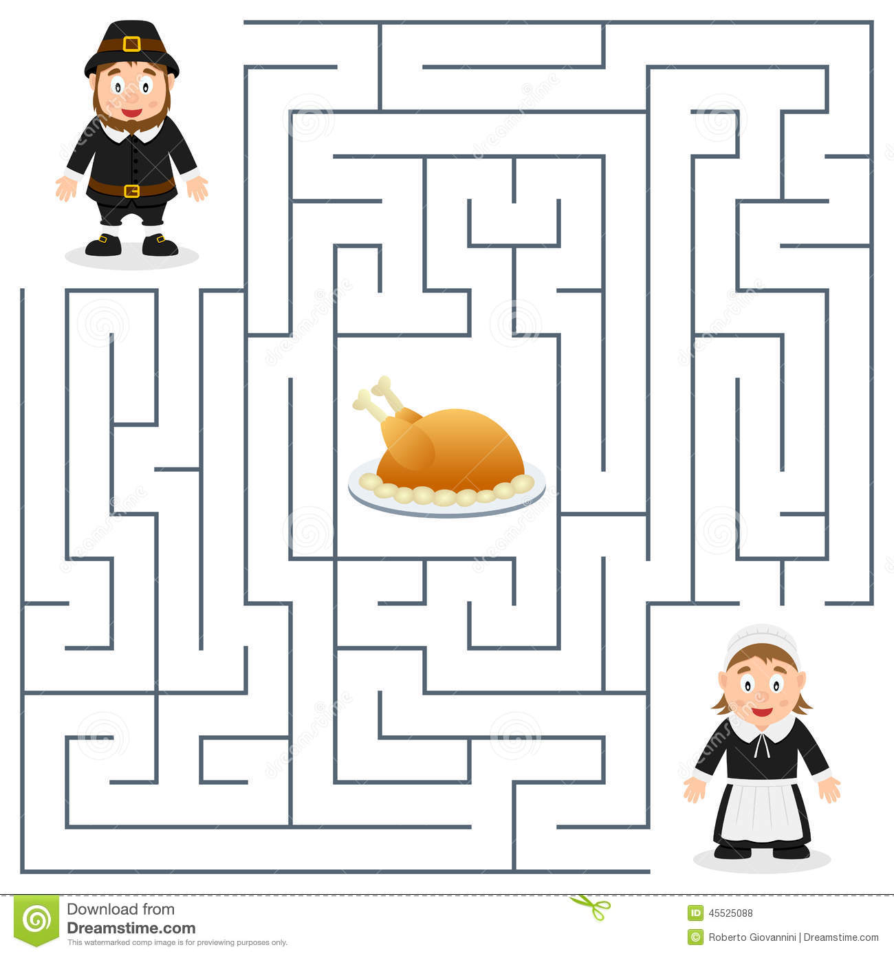 Thanksgiving Maze For Kids