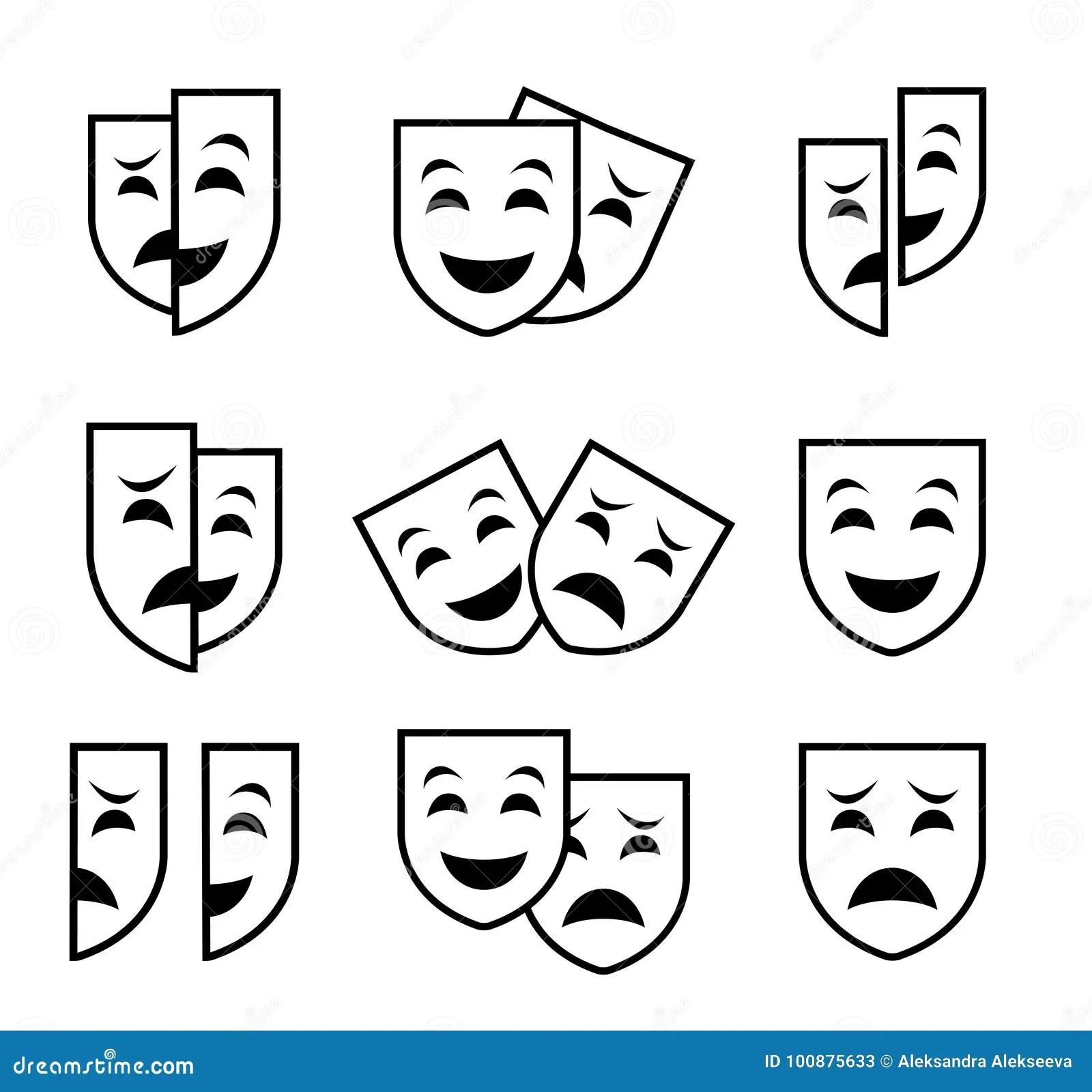 Theater Mask Symbols Vector Set Sad And Happy Concept