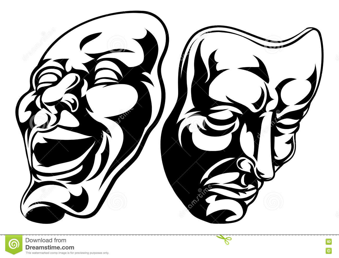 Theatre Masks Cartoon Vector