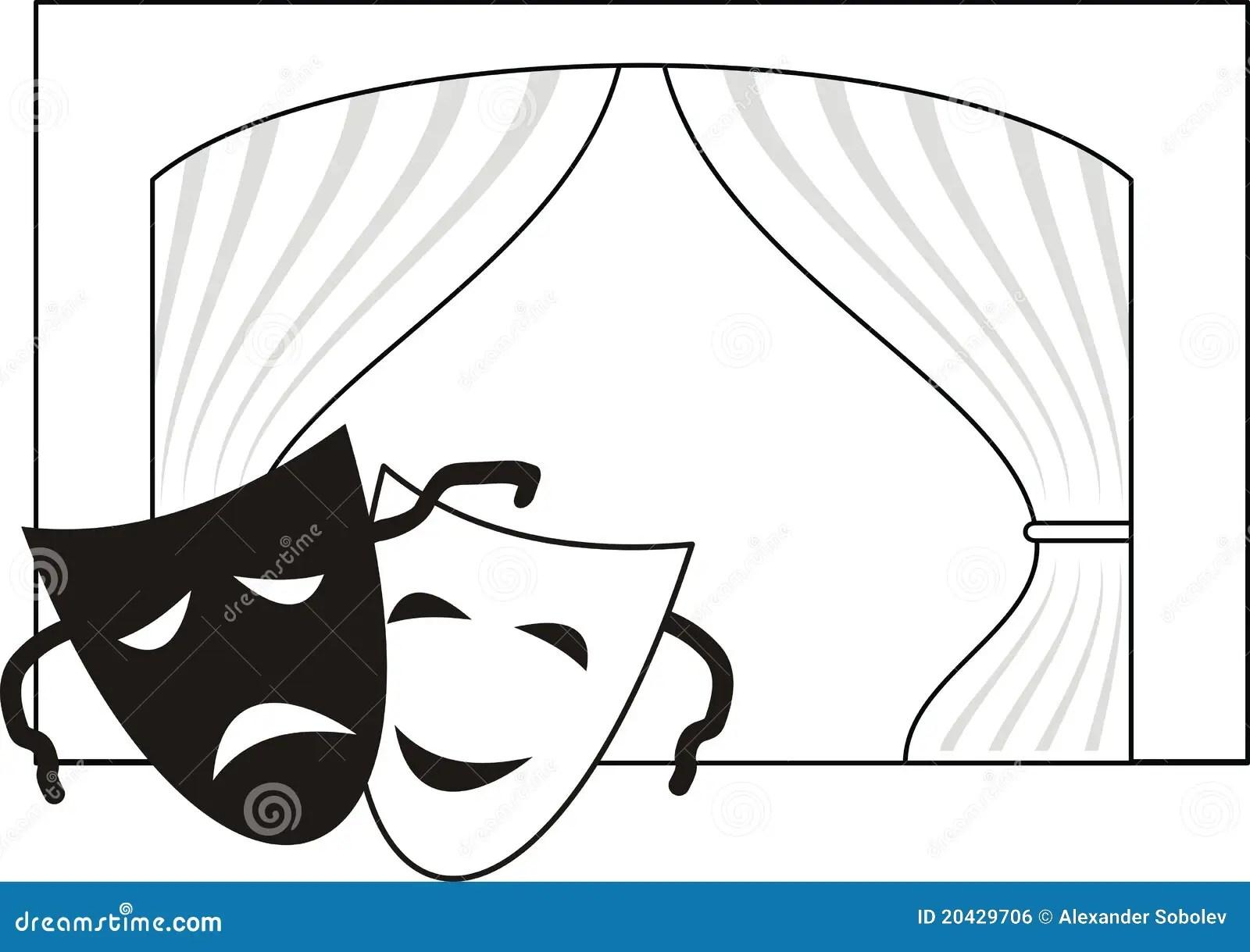 Theatrical Masks Scene Curtain Stock Vector