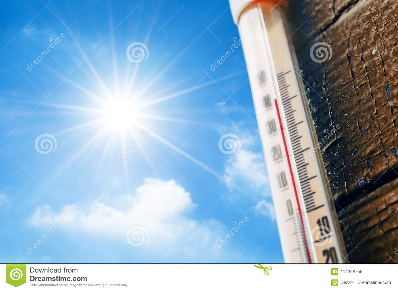 Thermometer With A High Temperature Reading On A Scale