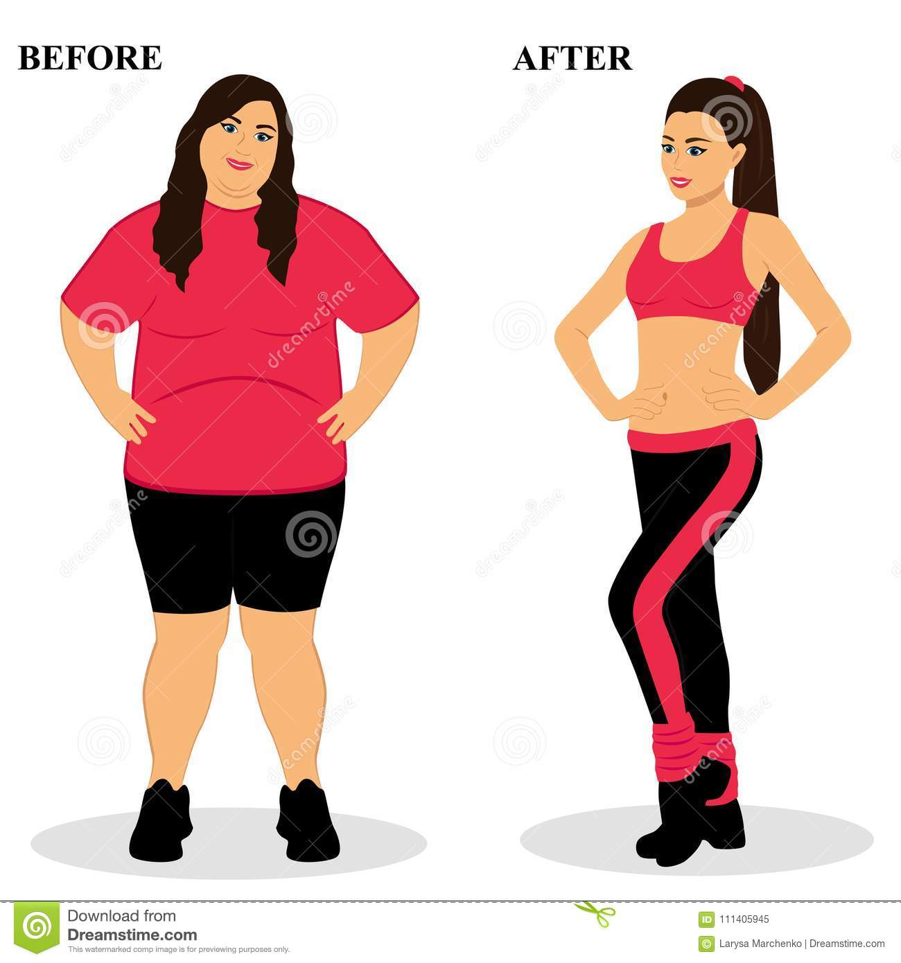 Thin And Fat Before And After Healthy Lifestyle Stock