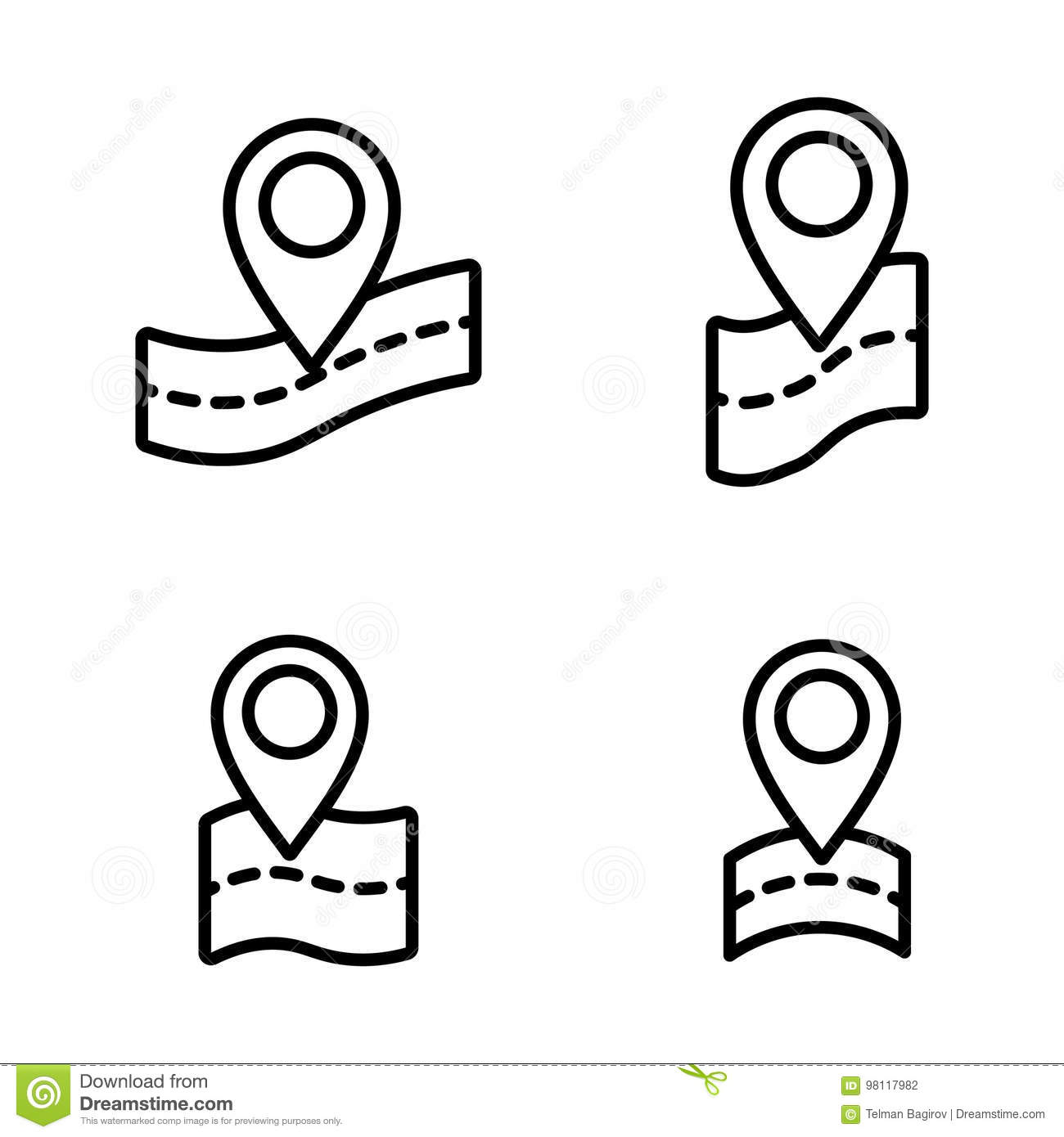 Thin Line Map Pin Point Location Icons Stock