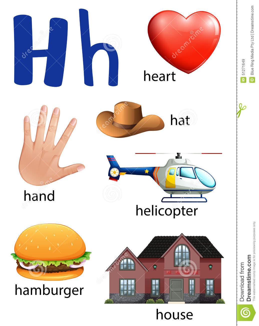 Things That Start With The Letter H Stock Vector