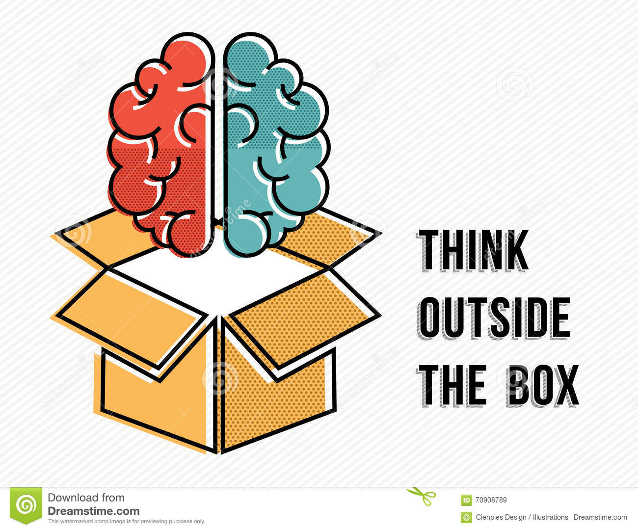 Think Outside The Box Concept With Brain Design Stock