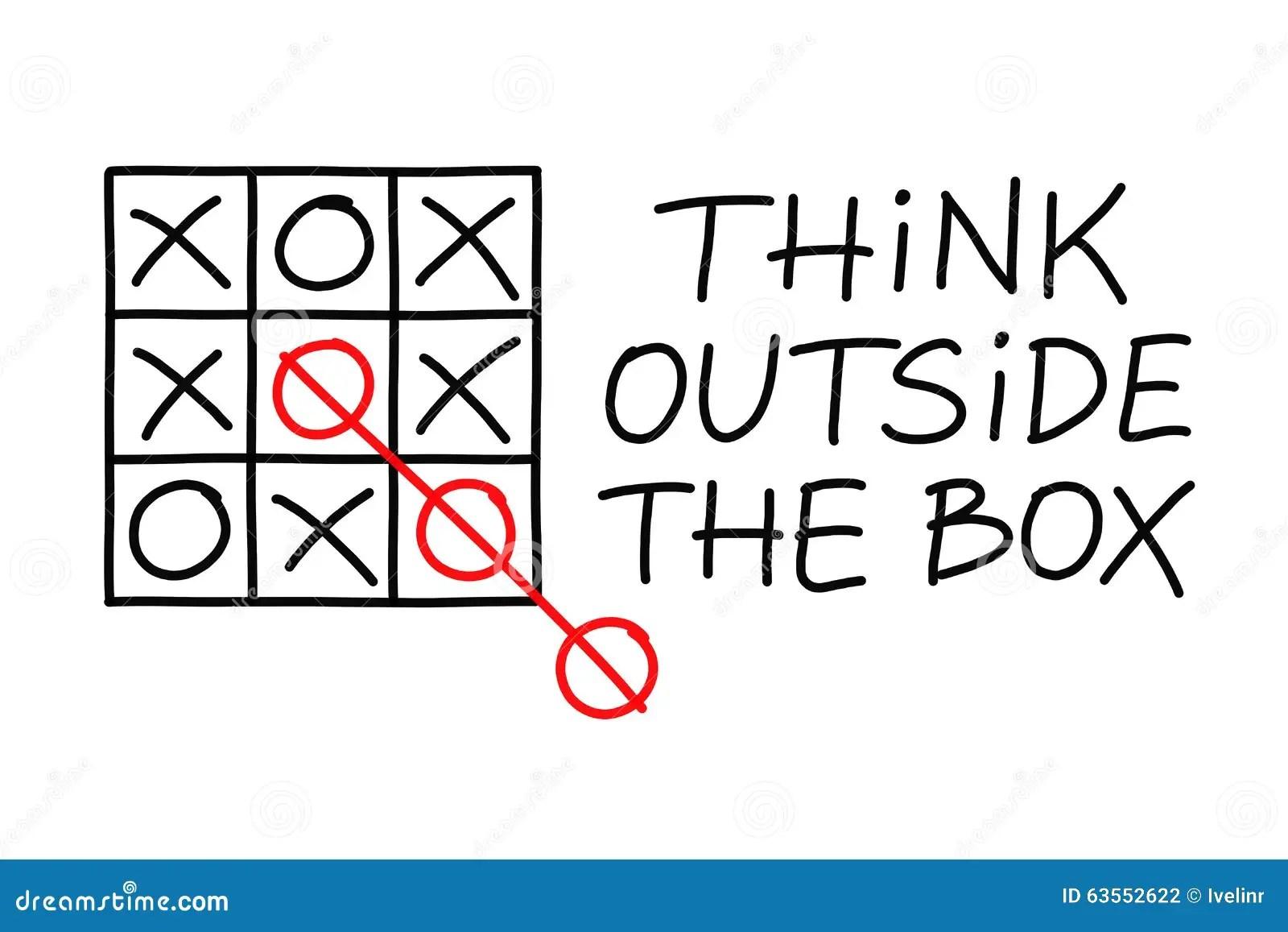 Think Outside The Box Tic Tac Toe Stock Illustration