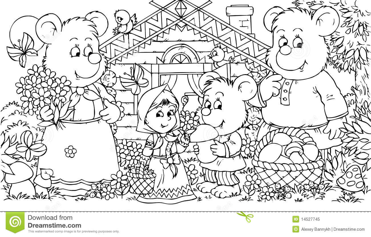 Three Bears And Little Girl Stock Illustration