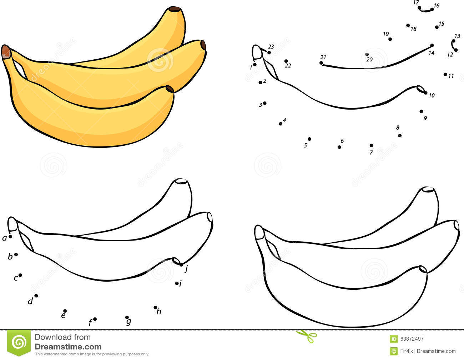 Three Cartoon Yellow Bananas Vector Illustration Coloring And Stock Vector