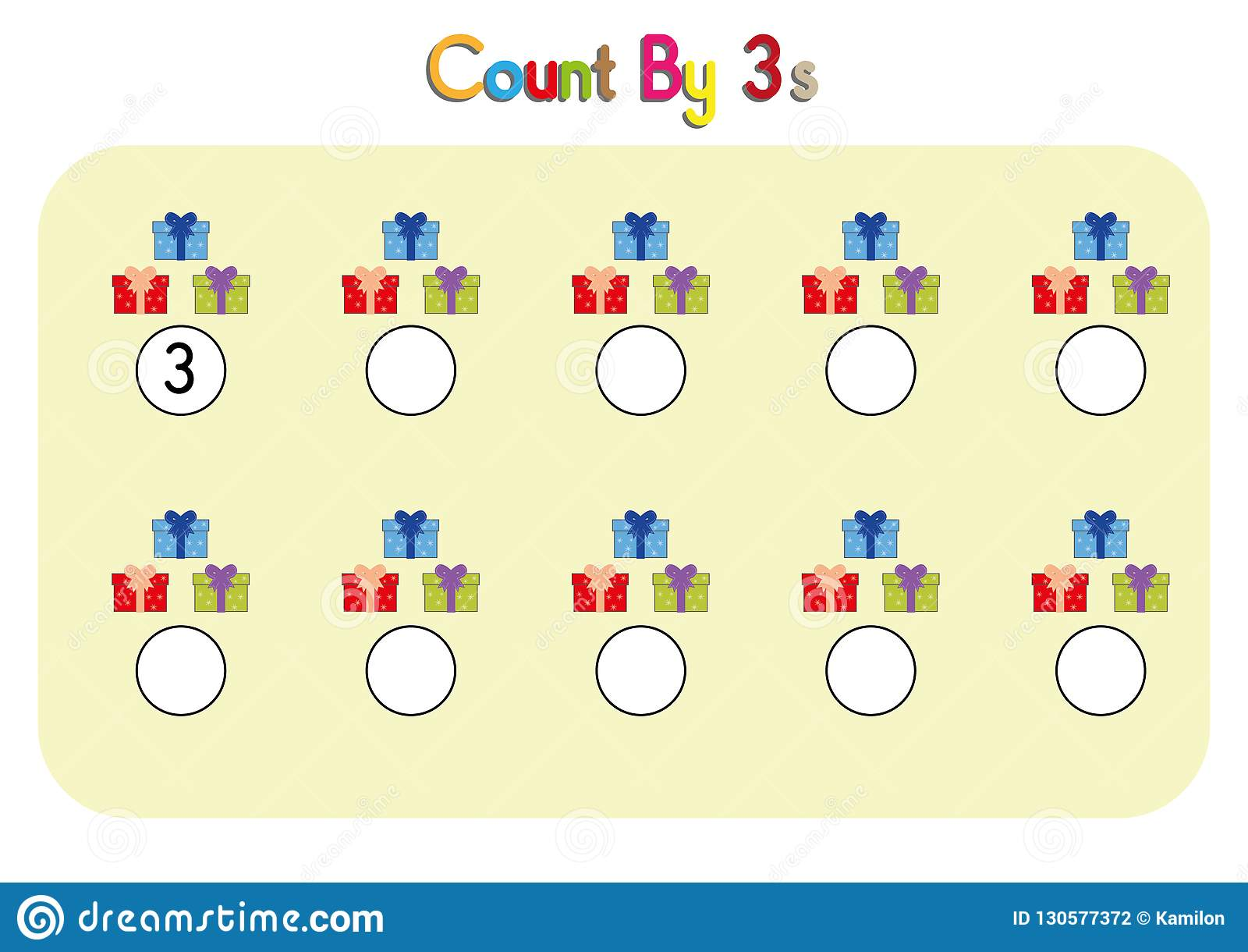 Three Counting Activity Math Worksheet Count By Three Practice Worksheet Write The Missing