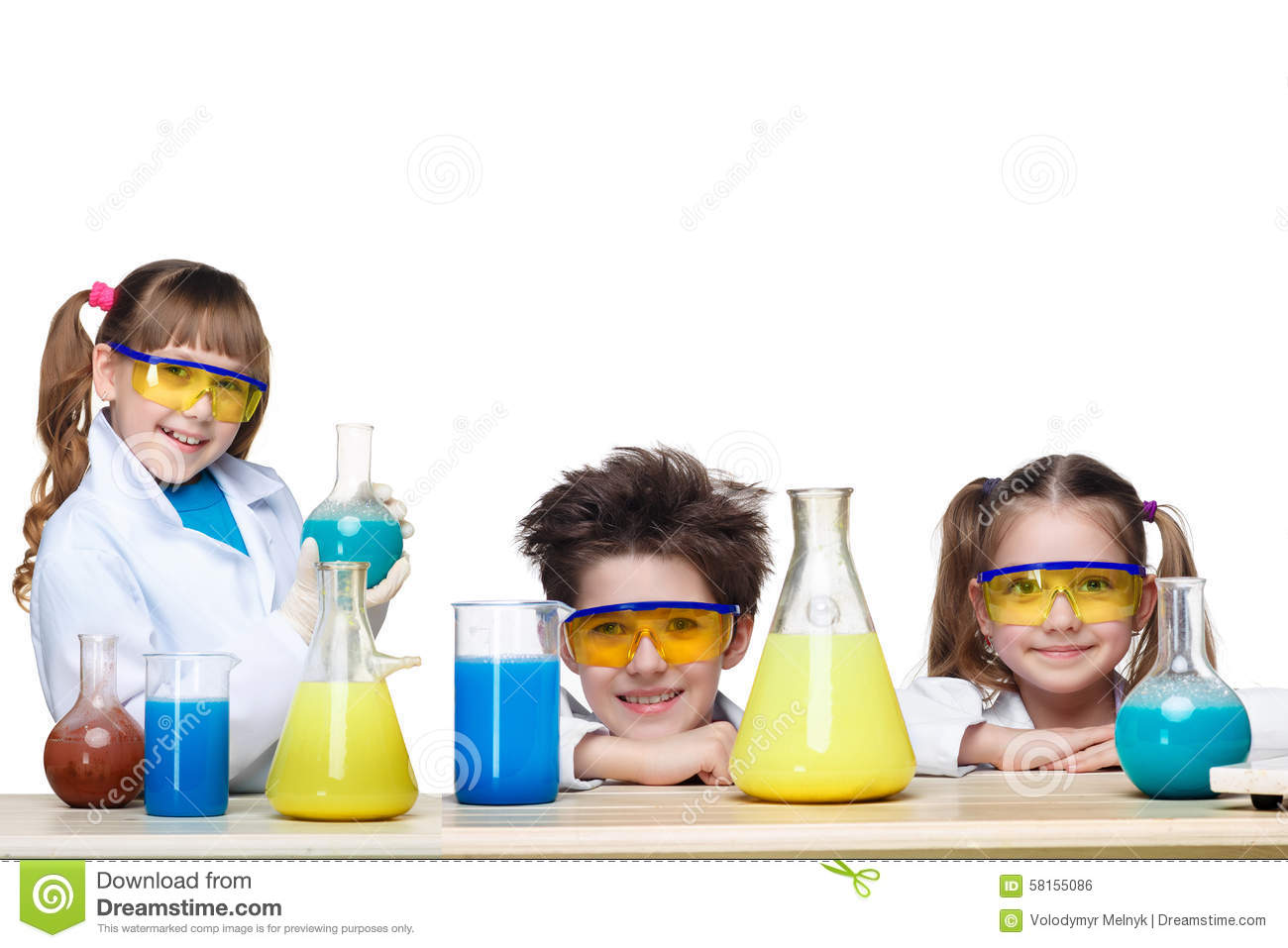 The Three Cute Children At Chemistry Lesson Making Stock