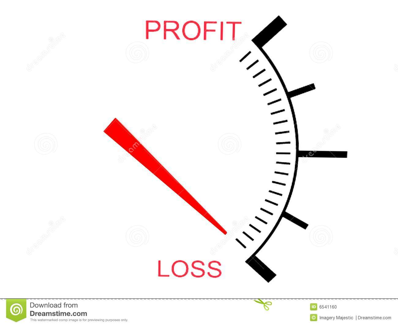 Three Dimensional Business Loss Gauge Stock Photo