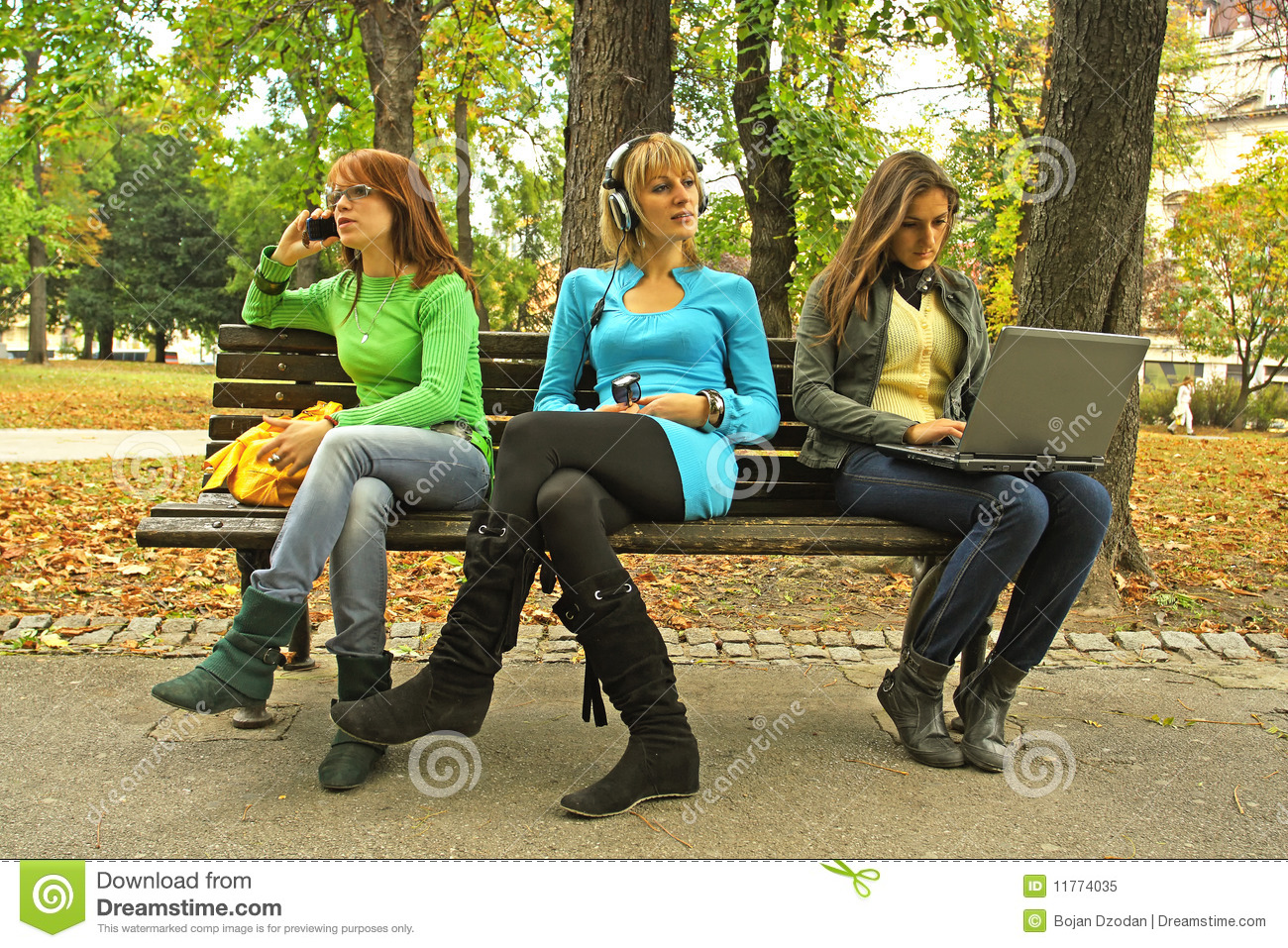 Three Girls On A Bench Stock Image Image Of Bench Mobile