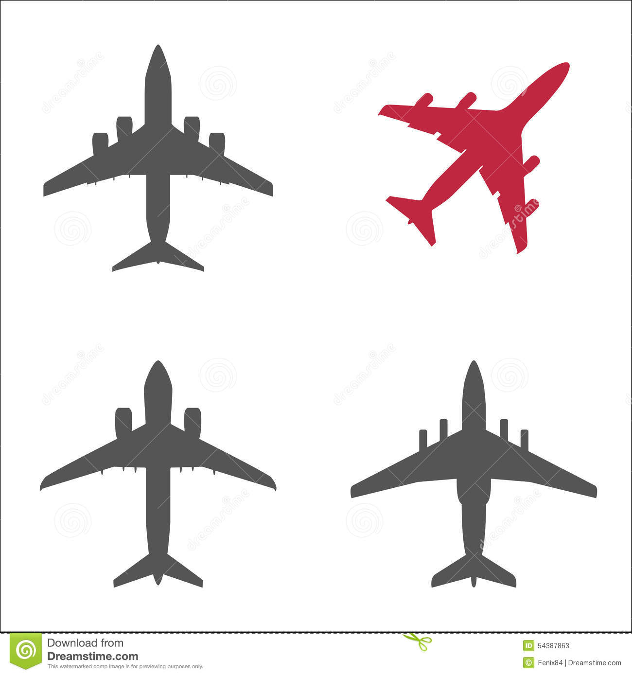 Three Gray Passenger Planes And One Red Stock Vector