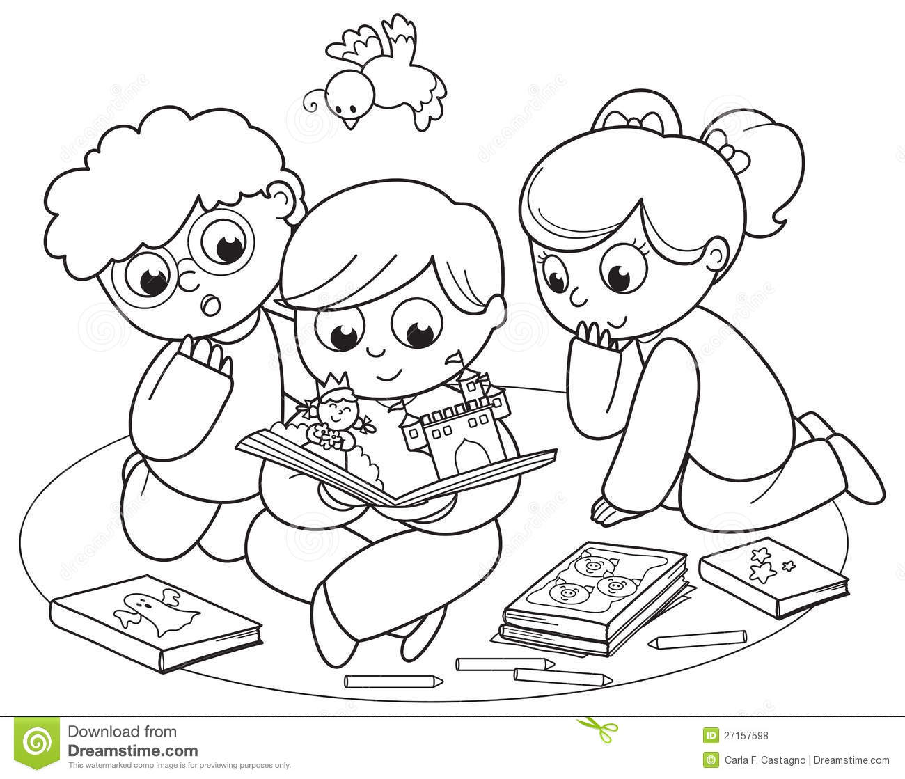 Three Kids Reading A Pop Up Book Stock Vector