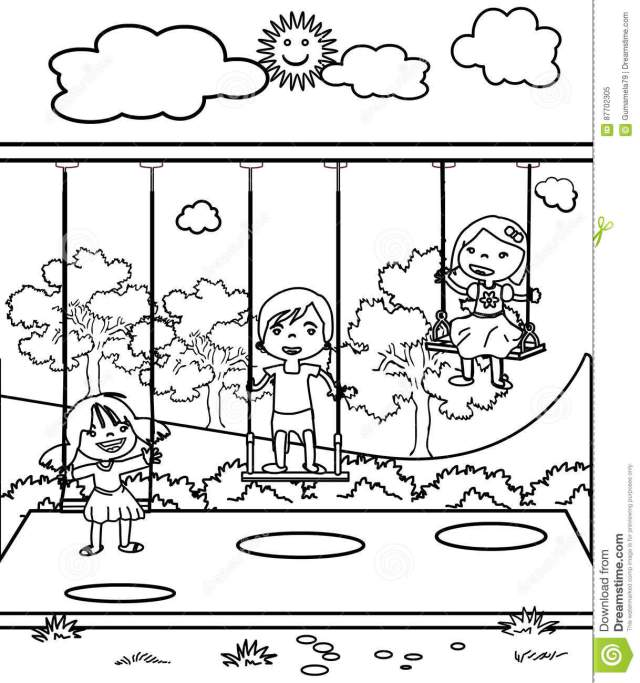 Three Little Children Coloring Page Stock Illustration