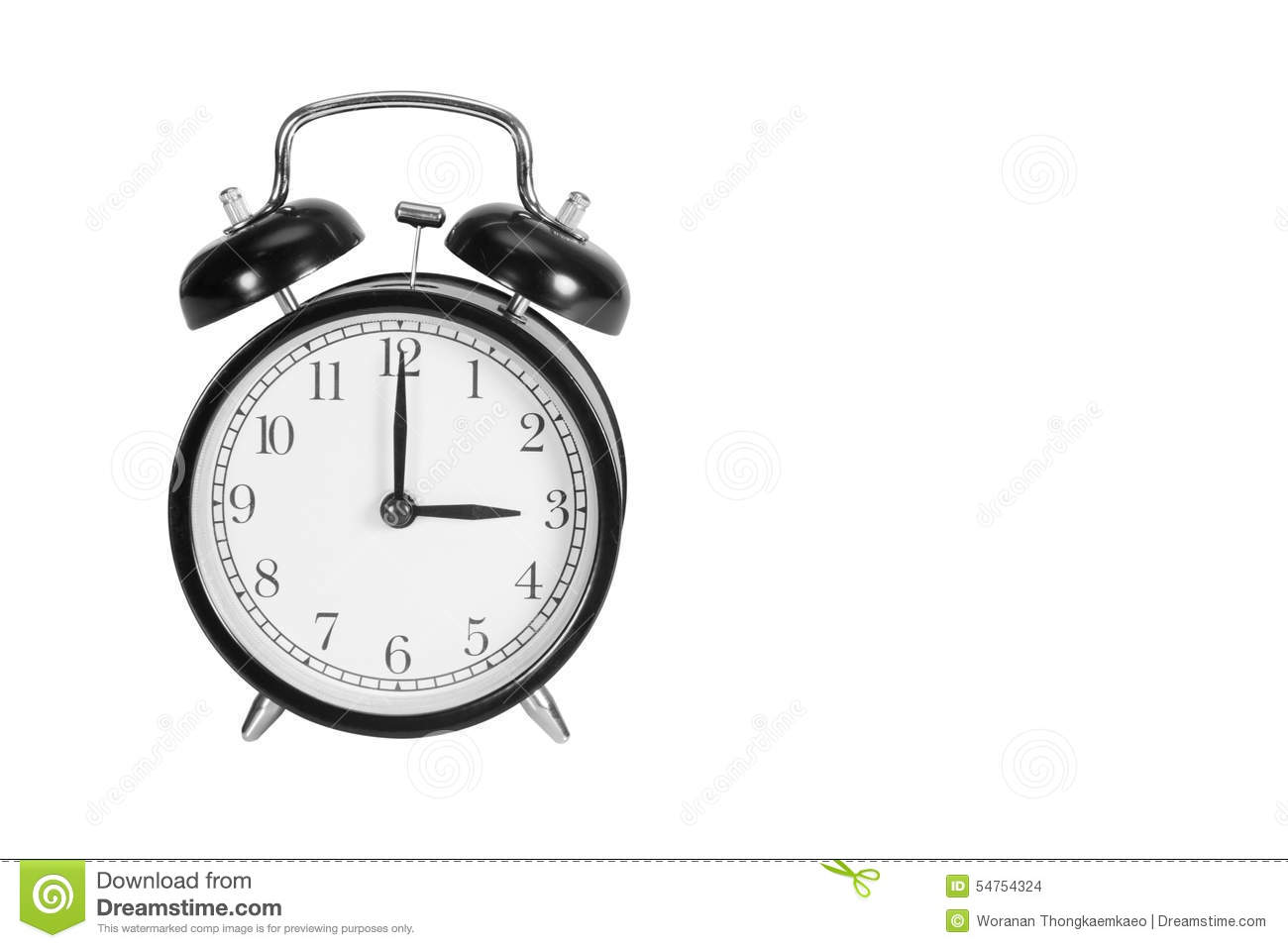 Three O Clock On Alarm Clock Stock Photo