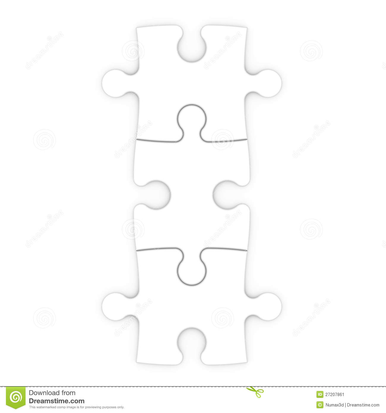 Three Puzzle Pieces With Clipping Path Stock Illustration