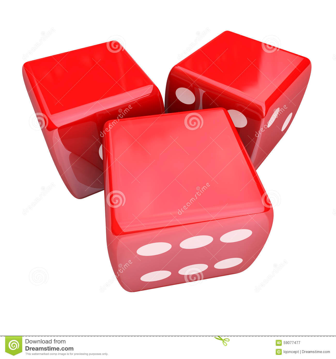 Three Red Dice Rolling Taking Chance Game 3 Blank Stock Illustration