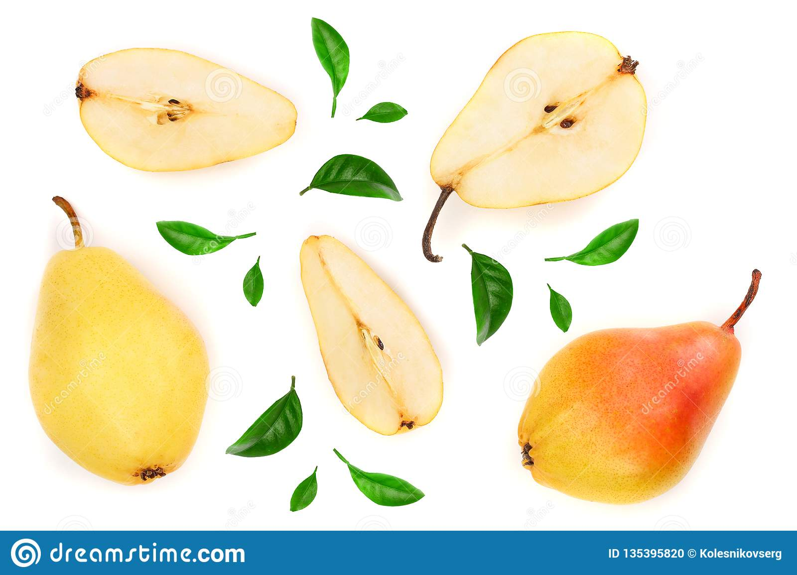 Three Ripe Red Yellow Pear Fruits With Leaf Isolated On