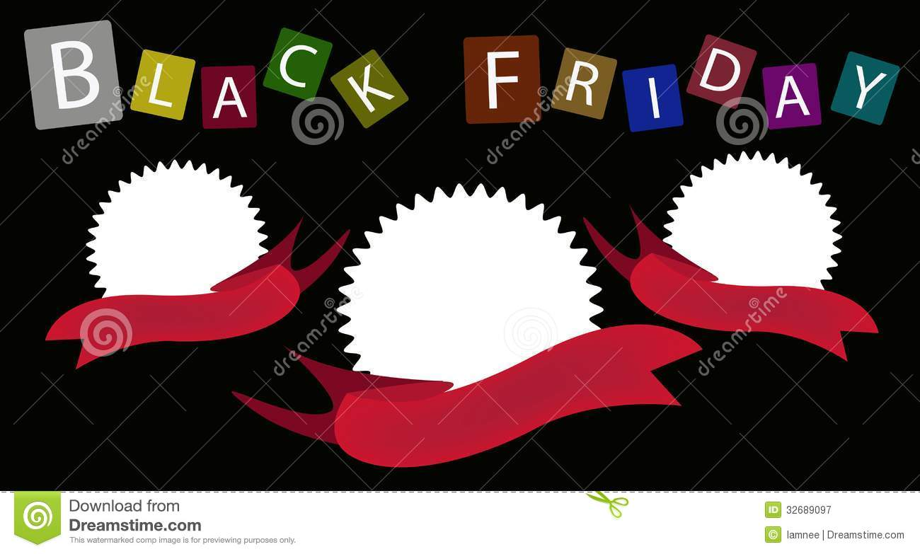 Three Round Banners On Black Friday Background Royalty