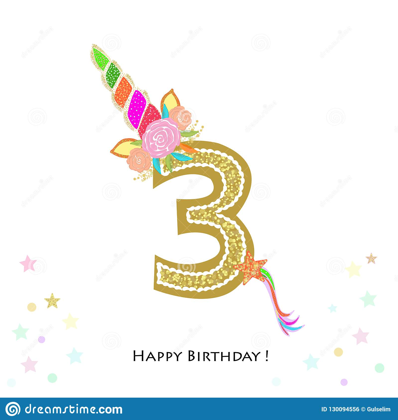 https www dreamstime com three third birthday colorful unicorn invitation baby shower party greeting card background image130094556