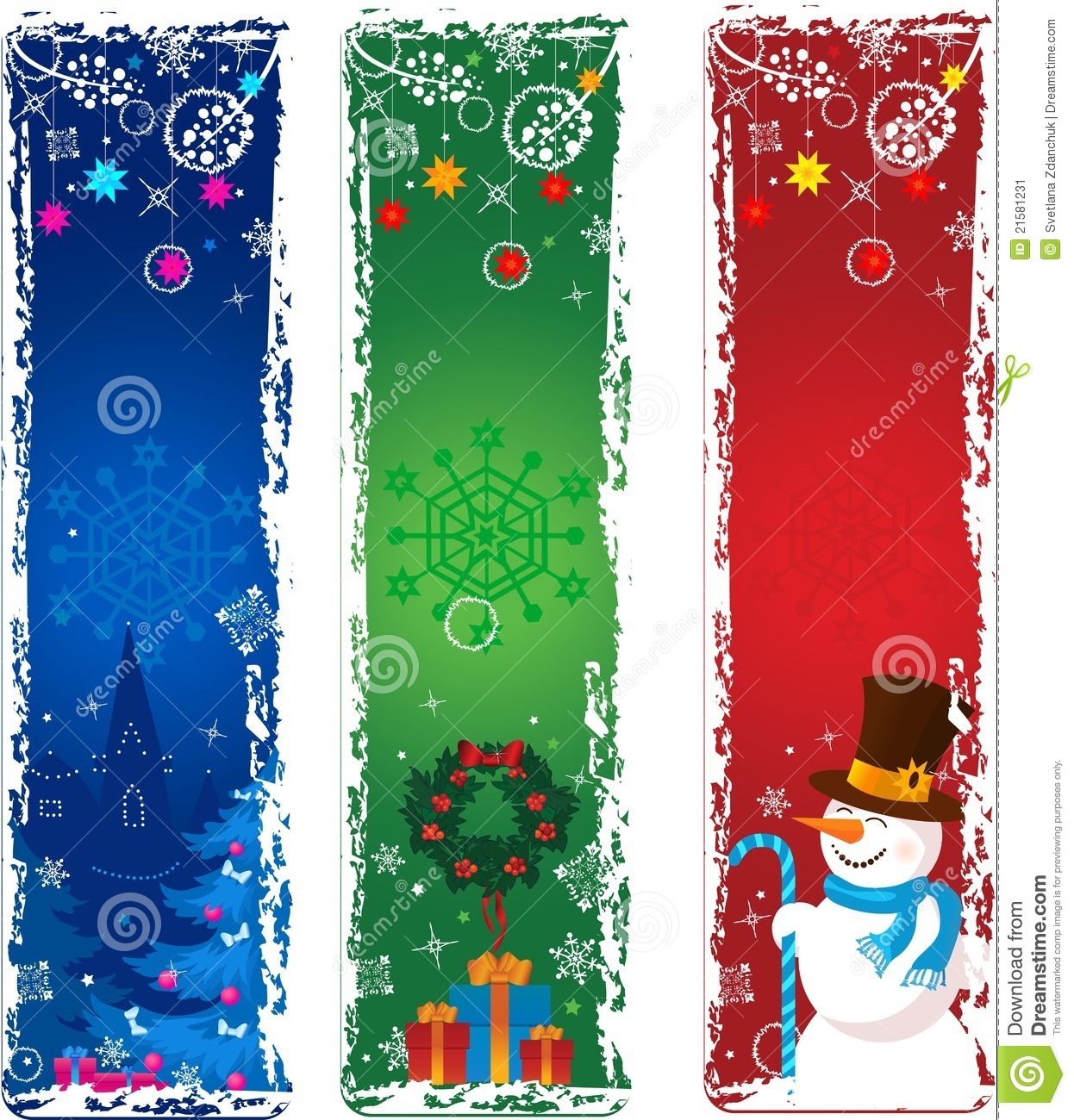 Three Vertical Christmas Banners Stock Image Image 21581231