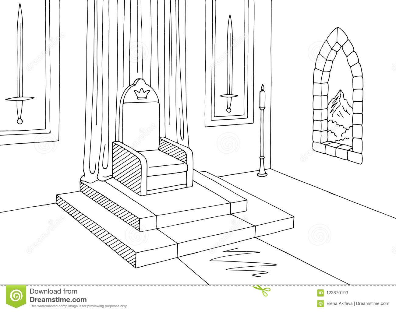 Throne Room Graphic Castle Interior Black White Me Val