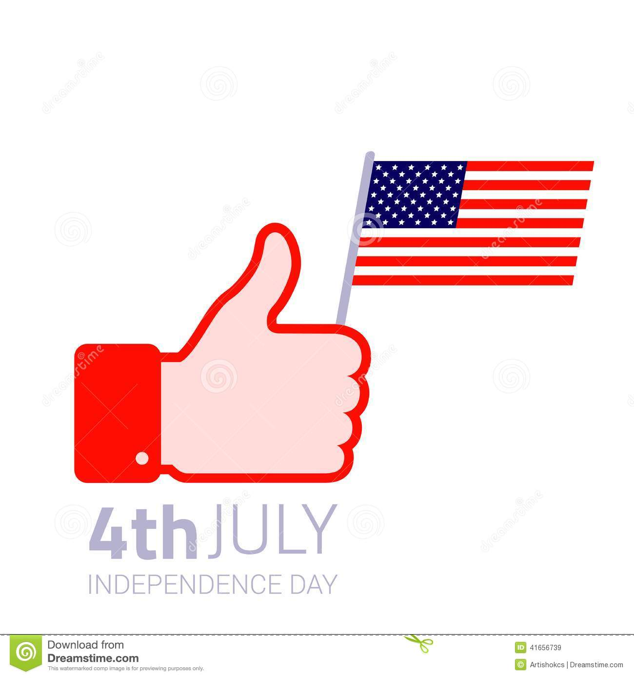 Thumb Up Hold American Flag Icon Stock Vector