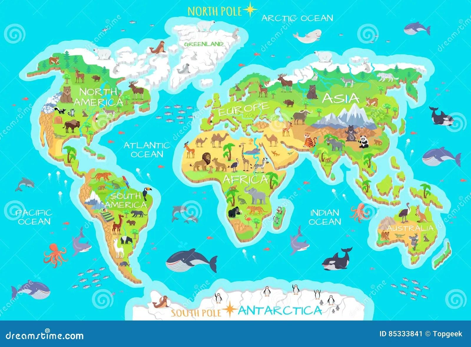 Tiere Und Wo Sie Leben Unser Planet Erde Vektor Abbildung