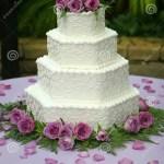 Tiered Wedding Cake With Purple Flowers Stock Image Image Of Marble Harmony 182351